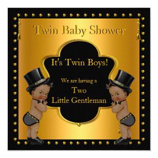 "Twin Baby Shower Boys Little Gentleman Ethnic 5.25"" Square Invitation Card"