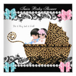 "Twin Baby Shower Cute Girl Pink Boy Blue Leopard 5.25"" Square Invitation Card"