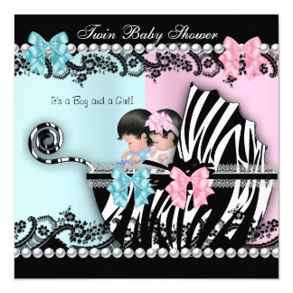 "Twin Baby Shower Cute Girl Pink Boy Blue Zebra 3 5.25"" Square Invitation Card"