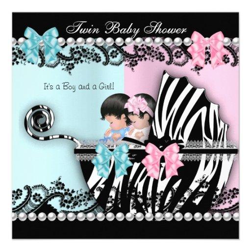 Twin Baby Shower Cute Girl Pink Boy Blue Zebra 3 Announcement