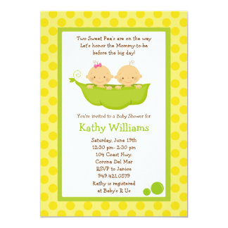 "Twin Baby Shower Invitation 5"" X 7"" Invitation Card"