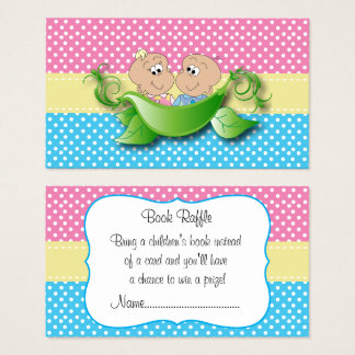 Twin Baby Shower - Two Peas In A Pod Book Raffle Business Card
