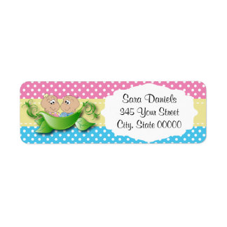 Twin Baby Shower - Two Peas In A Pod Return Address Label