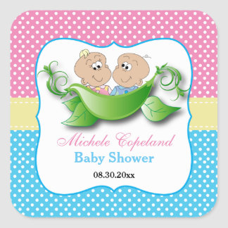 Twin Baby Shower - Two Peas In A Pod Square Sticker