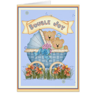Twin Bears Baby Carriage Card