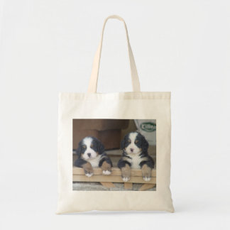 Twin Bernese Mountain Dog Puppies Tote Bag