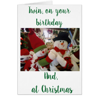 ***TWIN BIRTHDAY** AT ***CHRISTMAS*** CARD