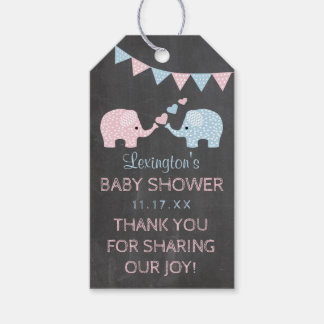 Twin Boy and Girl Elephants Baby Shower Thank You Gift Tags