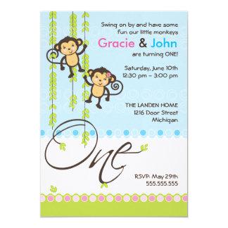 "Twin Boy and Girl First Birthday Invitation 5"" X 7"" Invitation Card"