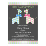 "Twin Boy and Girl Giraffe Baby Shower 5"" X 7"" Invitation Card"