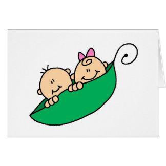 Twin Boy and Girl in Pea Pod Card