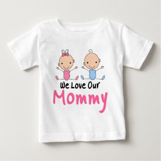 Twin Boy and Girl Stick Figure Babies T-shirts