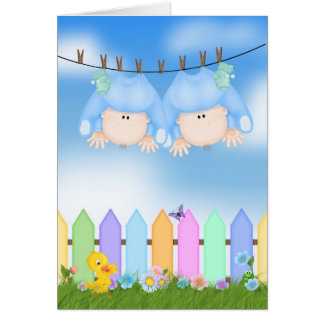 Twin Boy Announcement Greeting Card