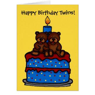 twin boy bears on cake birthday card