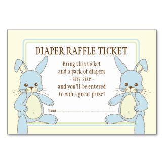 Twin Boy Bunny Rabbits Baby Shower Diaper Raffle Card