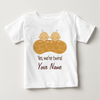 Twin Boy Personalized Babies In A Peanut Tee Shirt