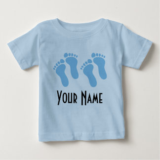 Twin Boy Personalized Baby Footprints Baby T-Shirt