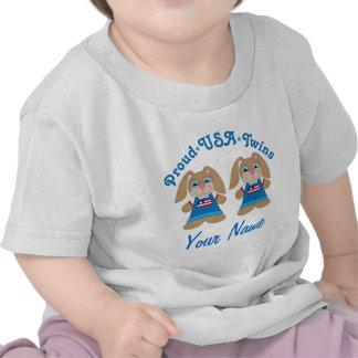 Twin Boy Personalized USA Pride T-shirts