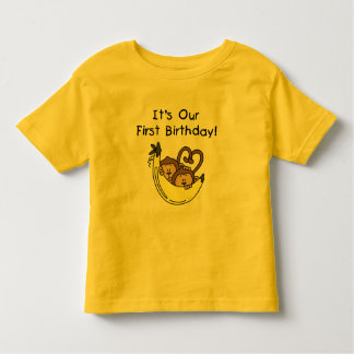 Twin Boys 1st Birthday Monkey Tshirts and Gifts