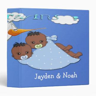 Twin Boys B - Stork Keepsake Baby Book 3 Ring Binder
