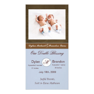 Twin Boys Birth Announcement Photo Cards