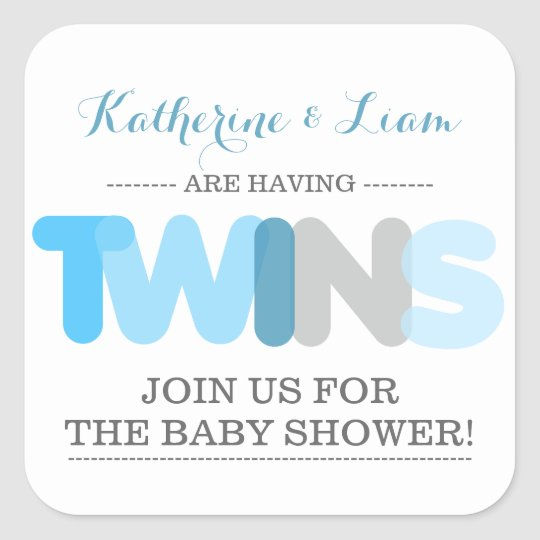 Twin Boys Blue Baby Shower Envelope Seal Stickers