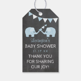 Twin Boys Blue Elephants Baby Shower Thank You Gift Tags