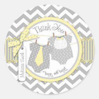 Twin Boys Bow Tie Chevron Print Thank You Label Round Sticker