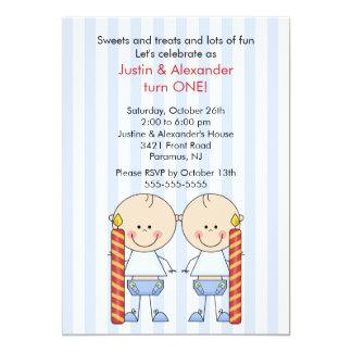 "Twin Boys First Birthday 5"" X 7"" Invitation Card"