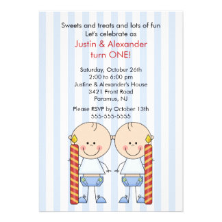 Twin Boys First Birthday Custom Announcement