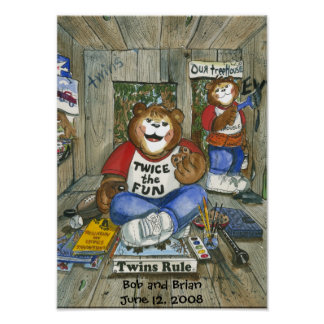 Twin Boys Room Poster