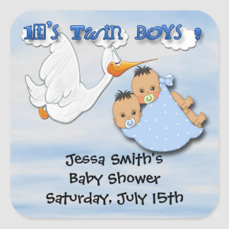 Twin Boys - Stork Baby Shower Favour stickers