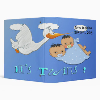 Twin Boys - Stork Keepsake Baby Book Vinyl Binders