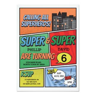 Twin Boy's Superhero Invitation Party Invite