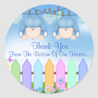 Twin Boys THANK YOU FAVORS Baby Shower Round Sticker