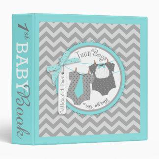 Twin Boys Tie Bow Tie Memory Book Album 3 Ring Binder