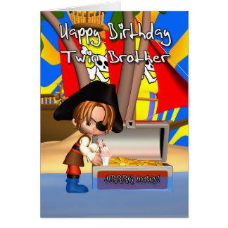 Twin Brother Birthday Card Pirate Treasure