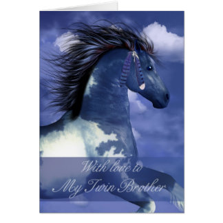 Twin Brother Equine Birthday Card North American I