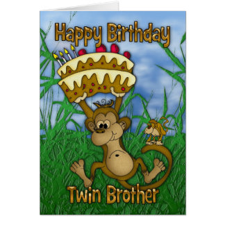 Twin Brother Happy Birthday with monkey holding ca Greeting Card