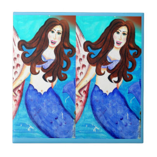 twin brunette mermaids blue tile