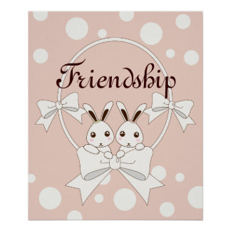 Twin Bunnies with Ribbons Pastel Pink Kids Poster