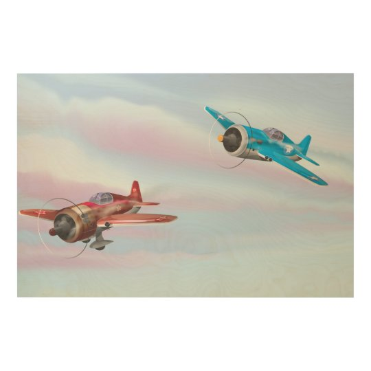 Twin cartoon prop aircraft flying wood print