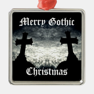 Twin crosses Merry Gothic Christmas Silver-Colored Square Ornament