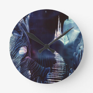 Twin Crystal Towers Fantasy Encaustic Art Wall Clock