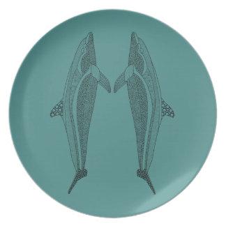Twin Dolphin Line Art Design Plate