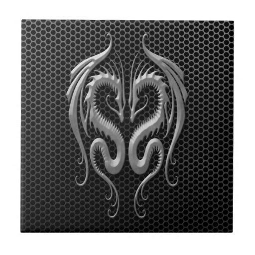 Twin Dragons with Steel Mesh Effect Tile