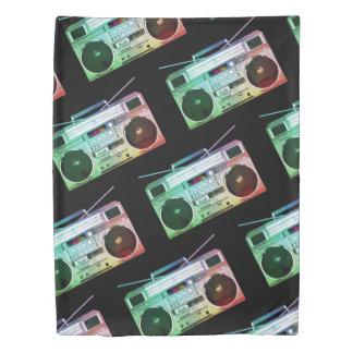Twin Duvet Hip Hop, Boom Box, Cassette Tape, Black