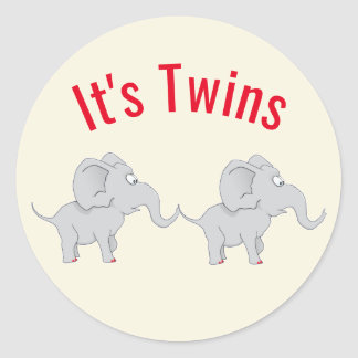 Twin Elephants | Baby Shower To Honor the New Mom Classic Round Sticker