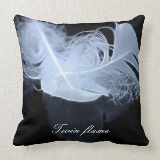 Twin flame feathers and reflection throw pillow