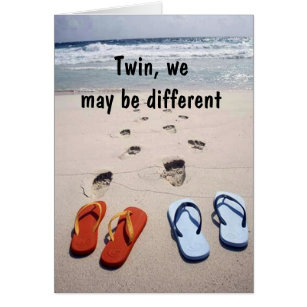 Twin sister birthday cards photocards invitations more twin flip flop humor on your birthday card bookmarktalkfo